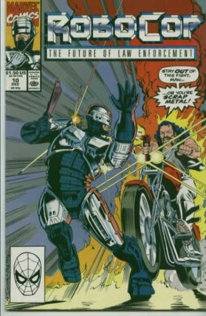 Robocop 10 - The Future Of Law Enforcement - Issue 10 Dec - Scrap Metal - Motorcycle - Running Over - Lee Sullivan