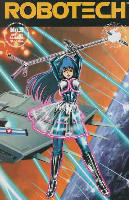 Robotech (1997) 9 - Microphone - Microphone Stan - Baton Twirling - Neon Edge Tracing - Neon Pink Dress