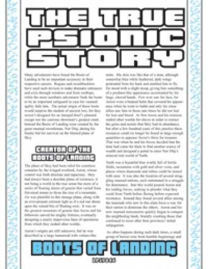 Role Playing Games - The True Psionic Story: Boots of Landing