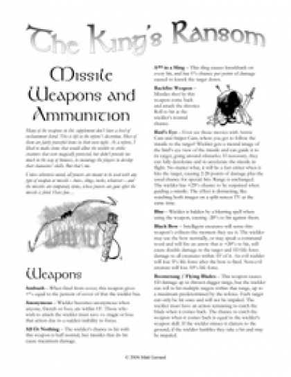 Role Playing Games - The King's Ransom: Missile Weapons and Ammunition
