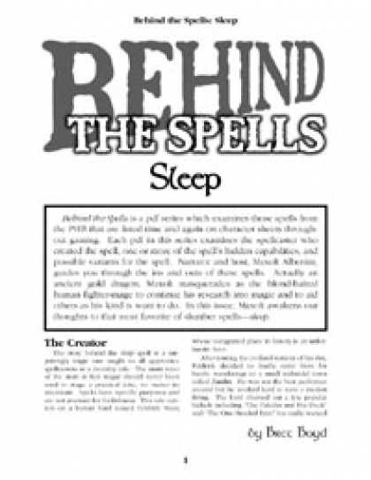 Role Playing Games - Behind the Spells: Sleep