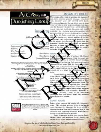 Role Playing Games - Insanity: A Game Enhancement