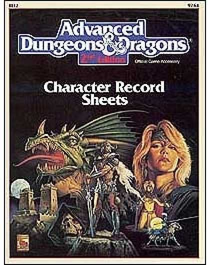 Role Playing Games - 2nd Edition AD&D Character Record Sheets