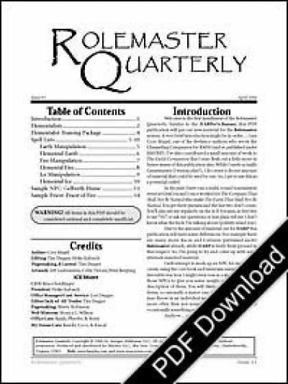 Role Playing Games - Rolemaster Quarterly #7