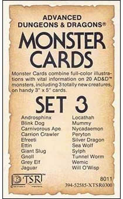 Role Playing Games - AD&D Monster Cards - Set 3