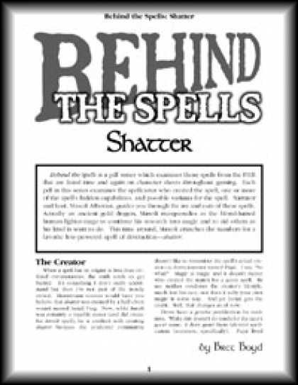 Role Playing Games - Behind the Spells: Shatter