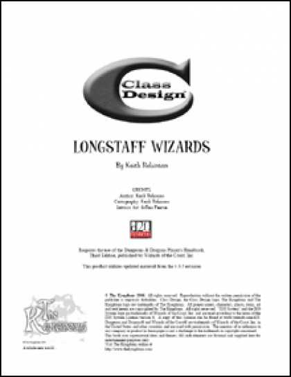 Role Playing Games - Class Design: The Longstaff Wizards