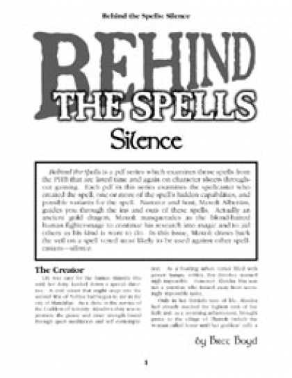 Role Playing Games - Behind the Spells: Silence