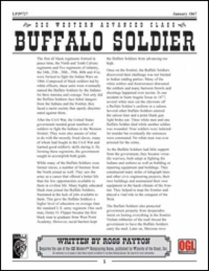 Role Playing Games - Prototype: Buffalo Soldier