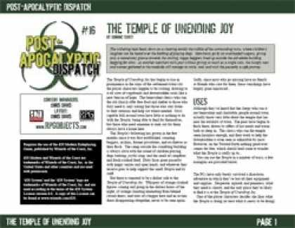 Role Playing Games - Post-Apocalyptic Dispatch (#16): The Temple of Unending Joy