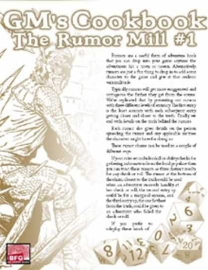Role Playing Games - GM'S COOKBOOK: The Rumor Mill #1