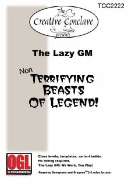 Role Playing Games - The Lazy GM: Non-Terrifying Beasts of Legend!