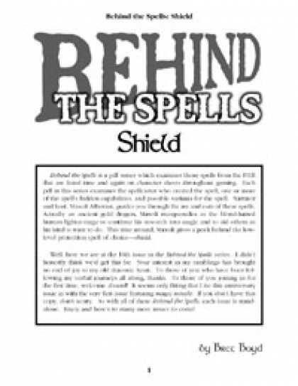 Role Playing Games - Behind the Spells: Shield