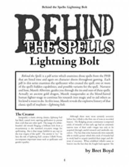 Role Playing Games - Behind the Spells: Lightning Bolt