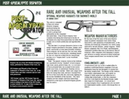 Role Playing Games - Post-Apocalyptic Dispatch (#4): Rare Weapons After the Fall