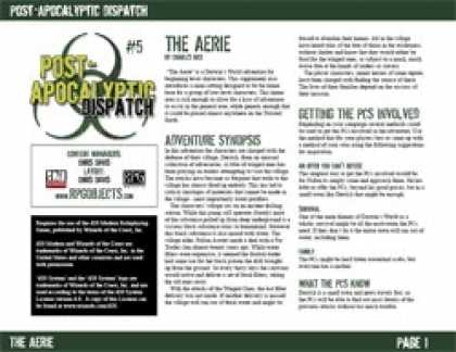 Role Playing Games - Post-Apocalyptic Dispatch (#5): The Aerie