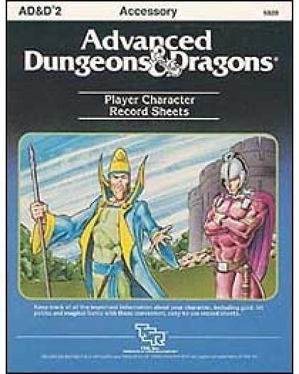 Role Playing Games - AD&D Player Character Record Sheets