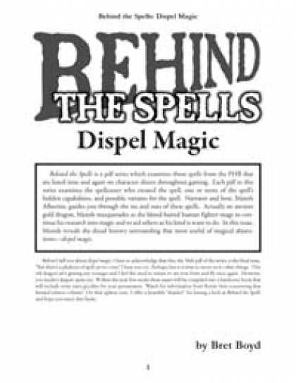 Role Playing Games - Behind the Spells: Dispel Magic