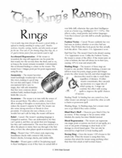 Role Playing Games - The King's Ransom: Rings