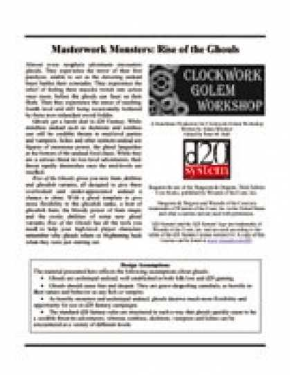 Role Playing Games - Masterwork Monsters: Rise of the Ghouls