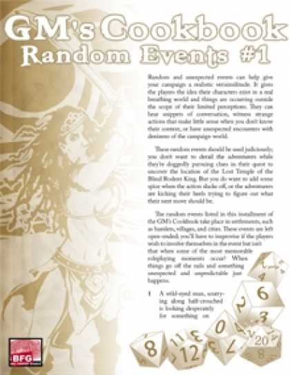 Role Playing Games - GM'S COOKBOOK: Random Events #1