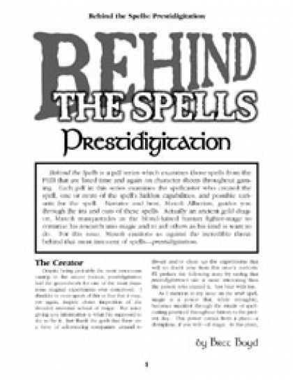 Role Playing Games - Behind the Spells: Prestidigitation