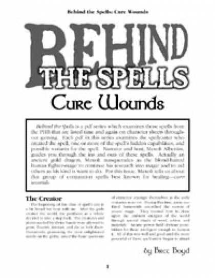 Role Playing Games - Behind the Spells: Cure Wounds