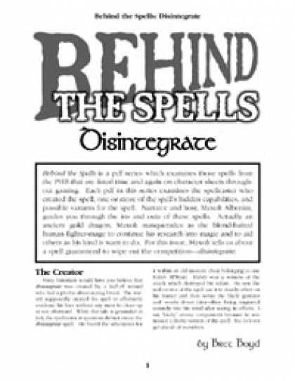 Role Playing Games - Behind the Spells: Disintegrate