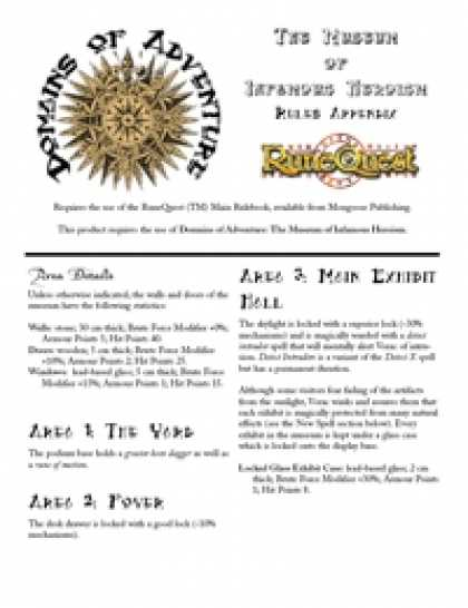 Role Playing Games - Domains of Adventure: The Museum of Infamous Heroism + Rules Appendix RuneQuest