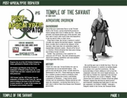 Role Playing Games - Post-Apocalyptic Dispatch (#6): Temple of the Savant