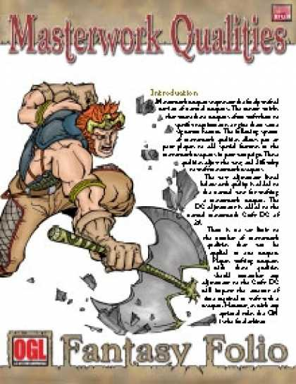 Role Playing Games - Fantasy Folio: Masterwork Qualities