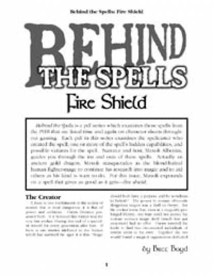 Role Playing Games - Behind the Spells: Fire Shield