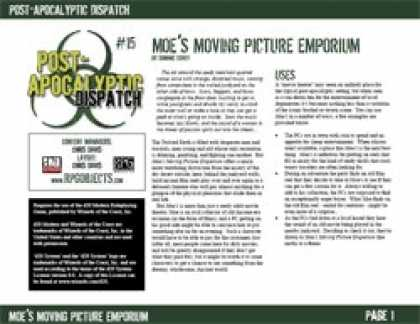 Role Playing Games - Post-Apocalyptic Dispatch (#15): MoeÂ's Moving Picture Emporium