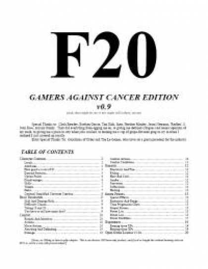 Role Playing Games - F20 Gamers Against Cancer Edition
