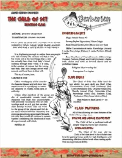 Role Playing Games - OGL Barbarian: The Child of Set (Sampler)