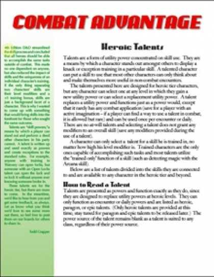 Role Playing Games - Combat Advantage #4: Heroic Talents