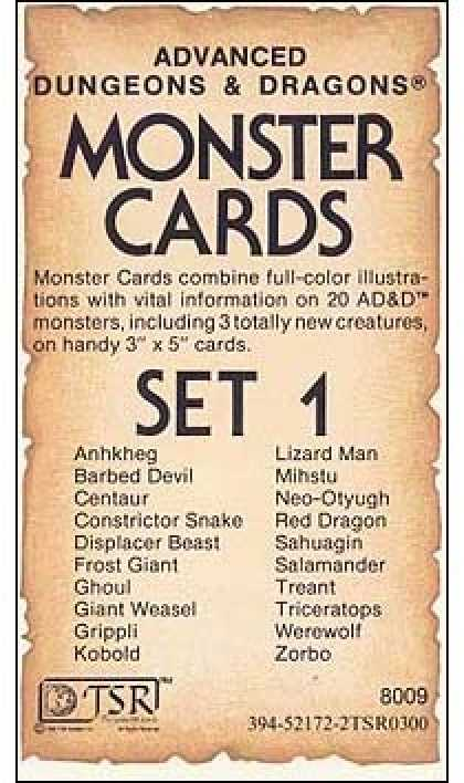 Role Playing Games - AD&D Monster Cards - Set 1