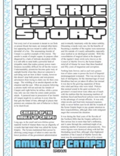 Role Playing Games - The True Psionic Story: Amulet of Catapsi