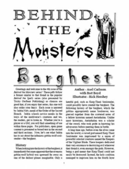 Role Playing Games - Behind the Monsters: Barghest