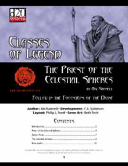 Role Playing Games - Lion's Den Press: Classes of Legend: Priest of Celestial Spheres
