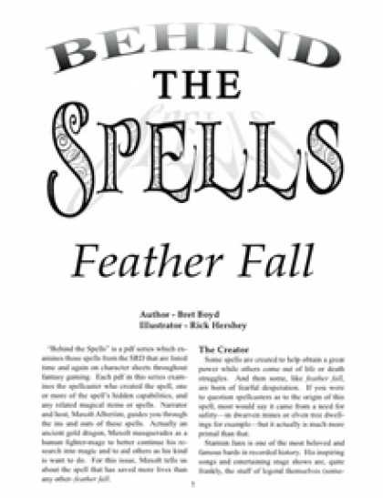 Role Playing Games - Behind the Spells: Feather Fall
