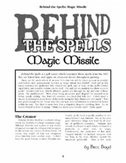 Role Playing Games - Behind the Spells: Magic Missile