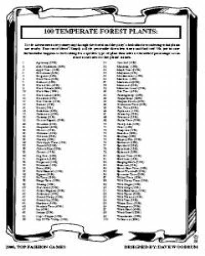 Role Playing Games - 100 Temperate Forest Plants