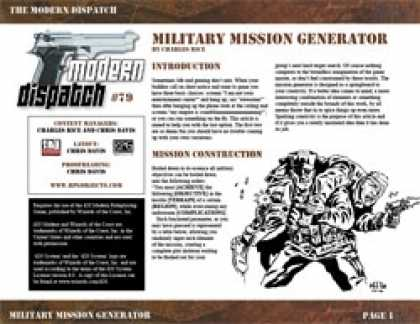 Role Playing Games - Modern Dispatch (#79): Military Mission Generator