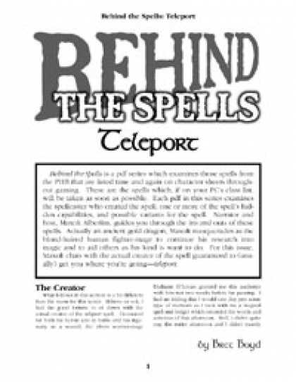 Role Playing Games - Behind the Spells: Teleport