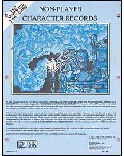 Role Playing Games - AD&D Non-Player Character Records