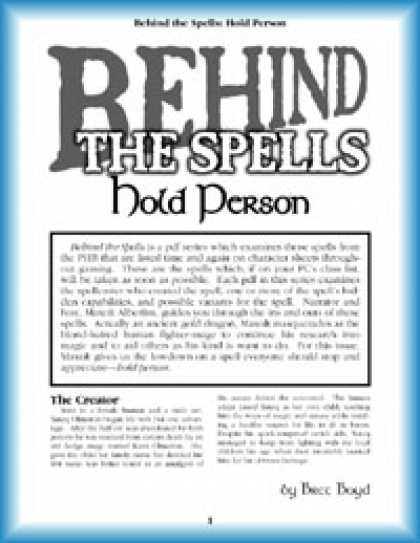 Role Playing Games - Behind the Spells: Hold Person