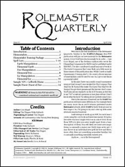 Role Playing Games - Rolemaster Quarterly 1