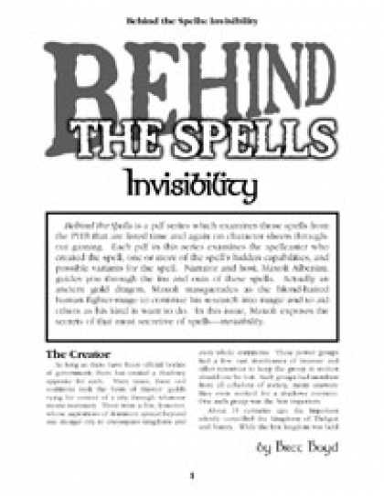 Role Playing Games - Behind the Spells: Invisibility