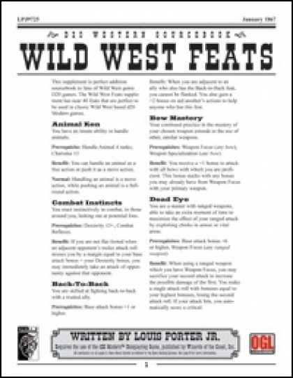 Role Playing Games - Wild West Feats